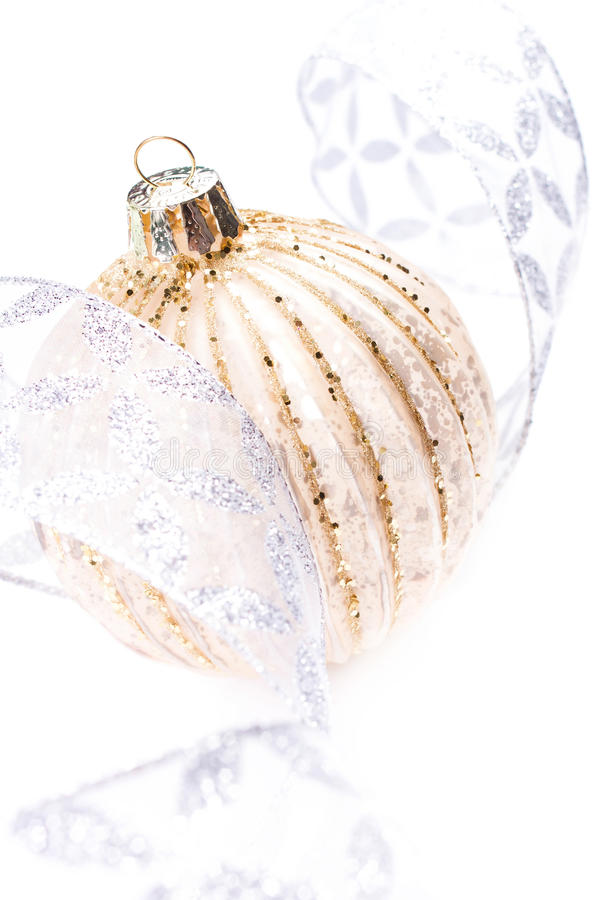 Download Christmas Card With Golden Christmas Ball And Silver Festive Dec Stock Photo - Image: 35409054