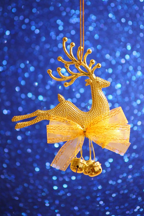 Christmas Card - Golden Reindeer ornament royalty free stock image