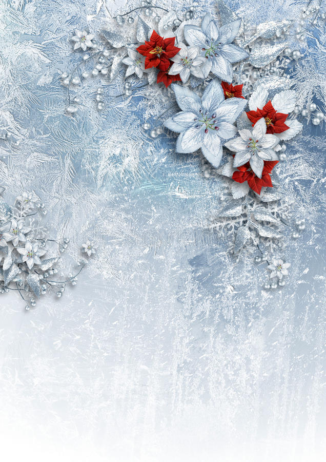 Christmas card with gorgeous winter flowers stock photo