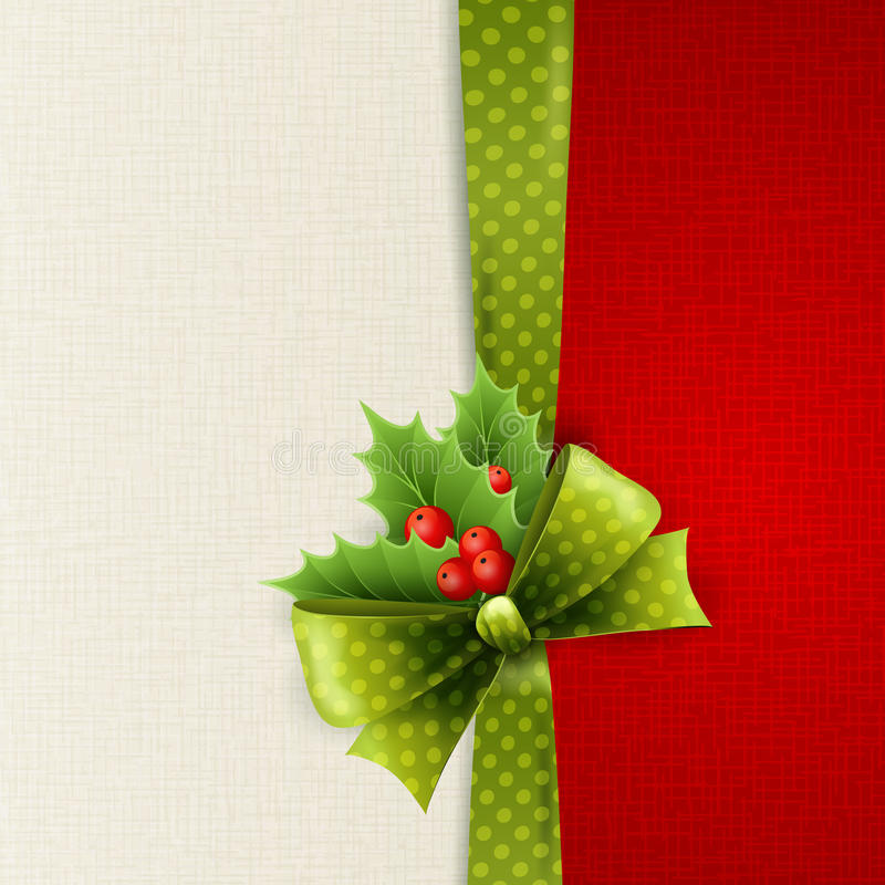 Christmas card with green polka dots bow and holly. Vector Christmas card with green polka dots bow and holly royalty free illustration