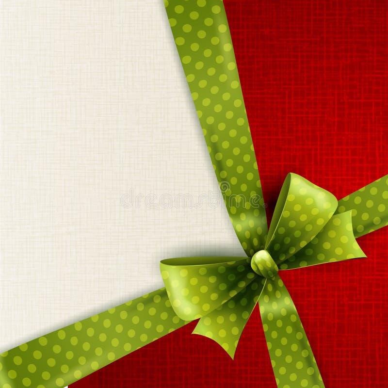 Christmas card with green polka dots bow. Vector Christmas card with green polka dots bow stock illustration
