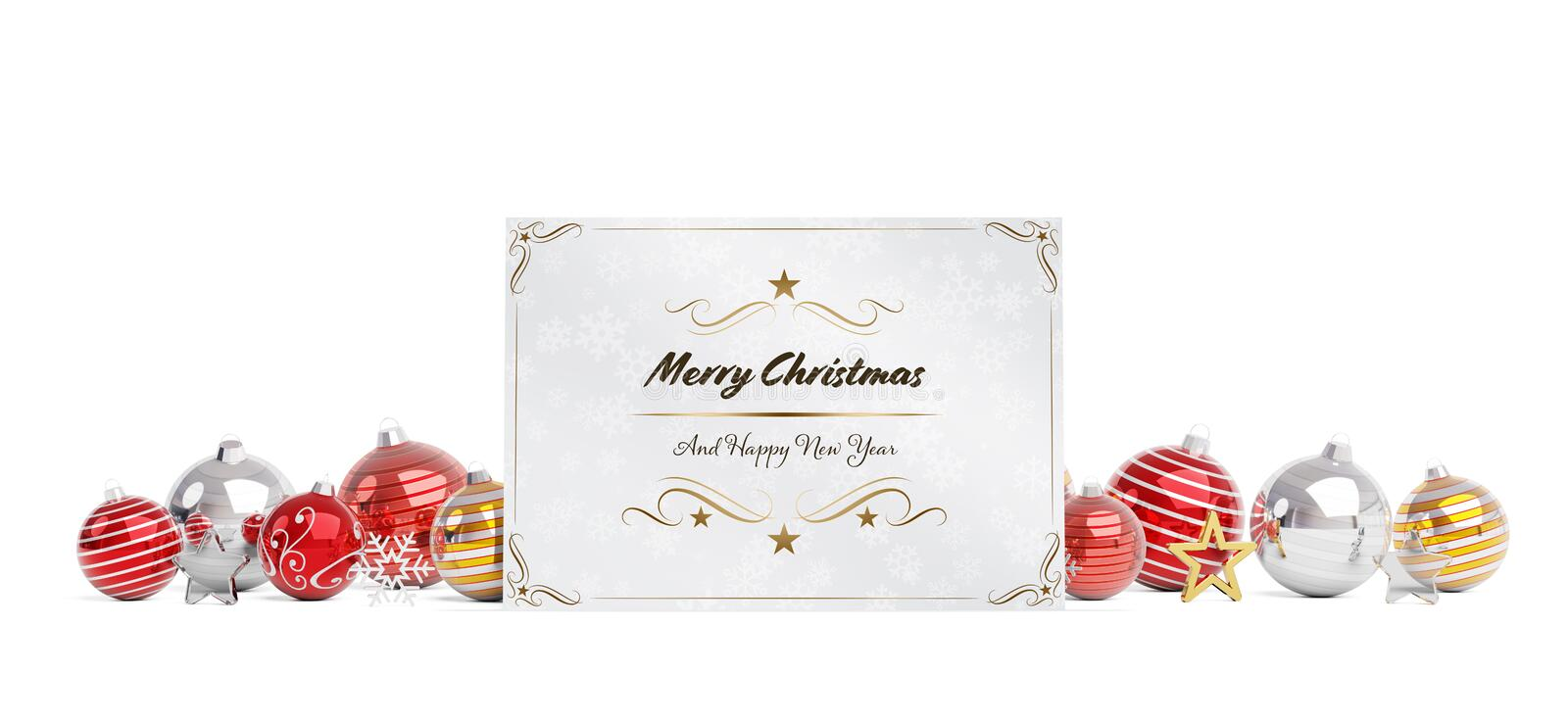 Christmas card greetings laying on red baubles isolated 3D rendering vector illustration