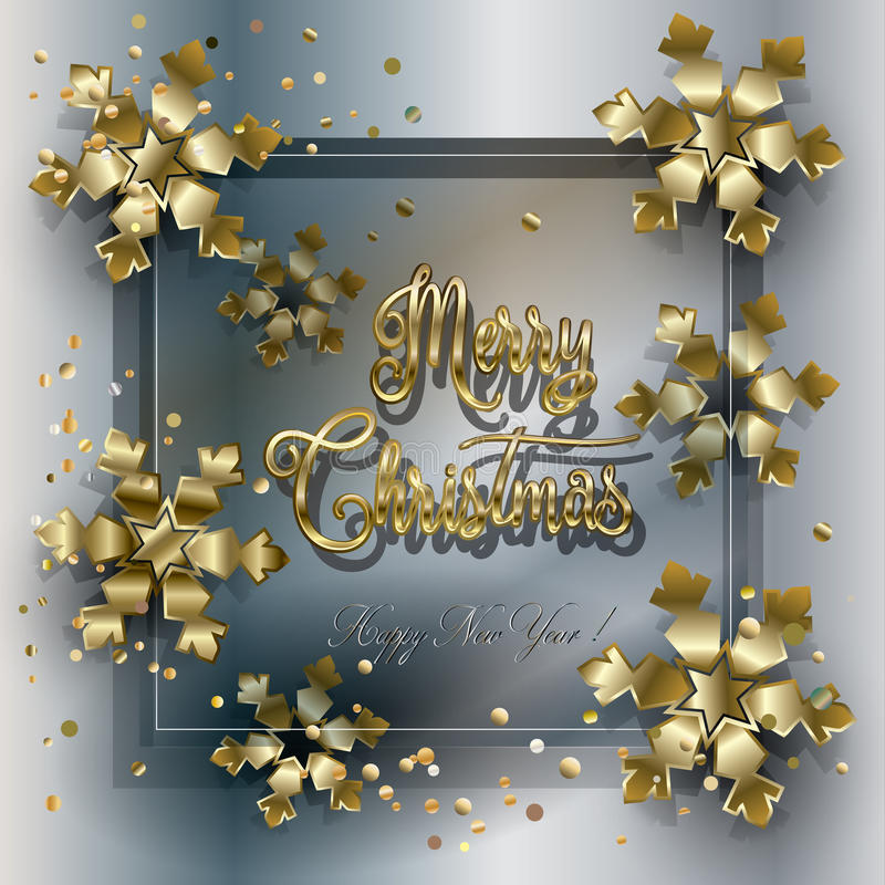 Christmas card. Happy New Year and Merry Christmas greeting card. Gold glitter snowflakes, confetti, sparkle, glass transparent background. For Happy New Year royalty free illustration