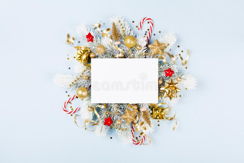 Christmas card with holiday decorations anf fir tree royalty free stock photos