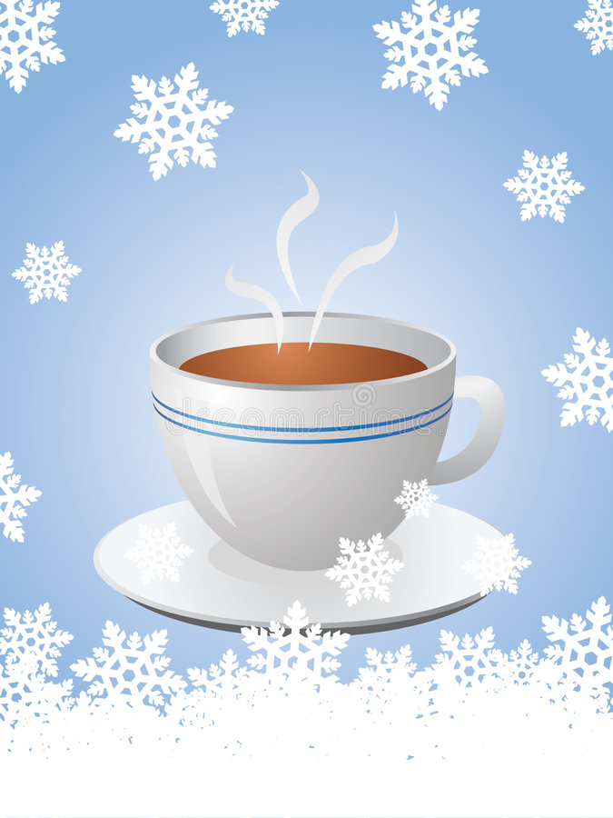 Christmas card with hot cup of coffee stock image