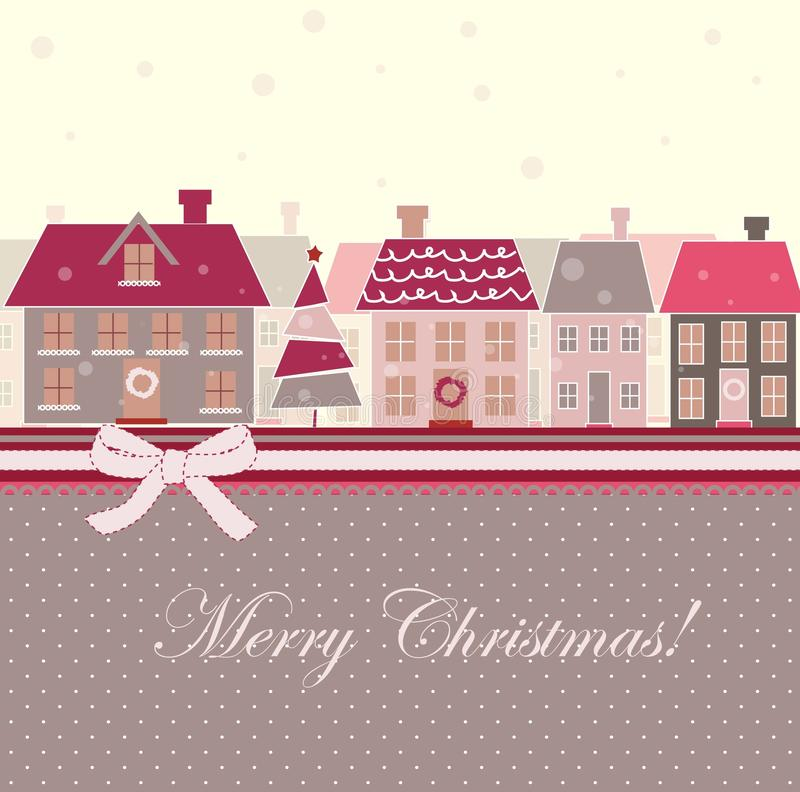 Christmas card with houses royalty free illustration