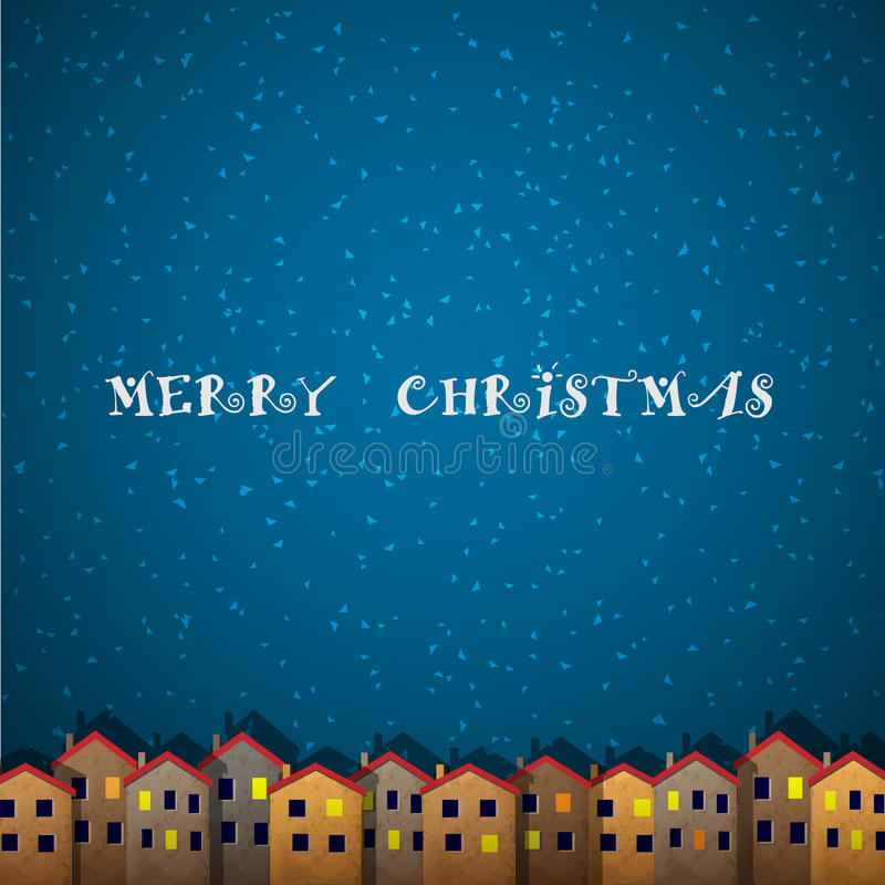 Christmas card with houses vector illustration
