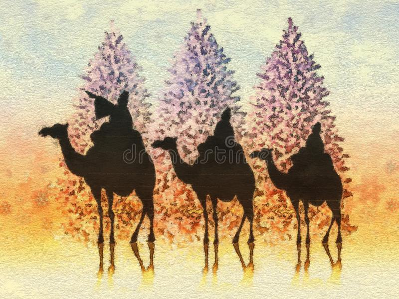 Christmas card illustration. The three wise men at Christmas vector illustration