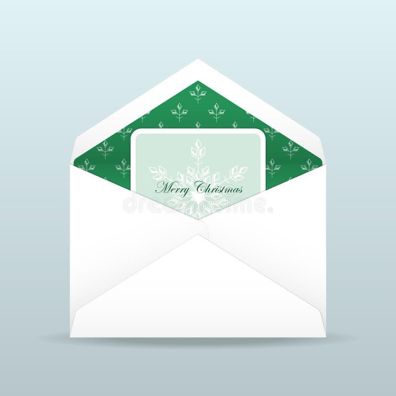 Christmas card inside open envelope stock illustration