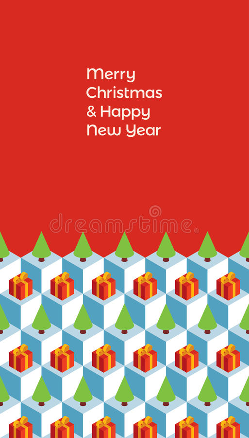 Christmas card isometric gifts trees ice. Holiday greeting card. Text `Merry Christmas and Happy New Year` on a red background. Pattern with isometric cubes, red stock illustration