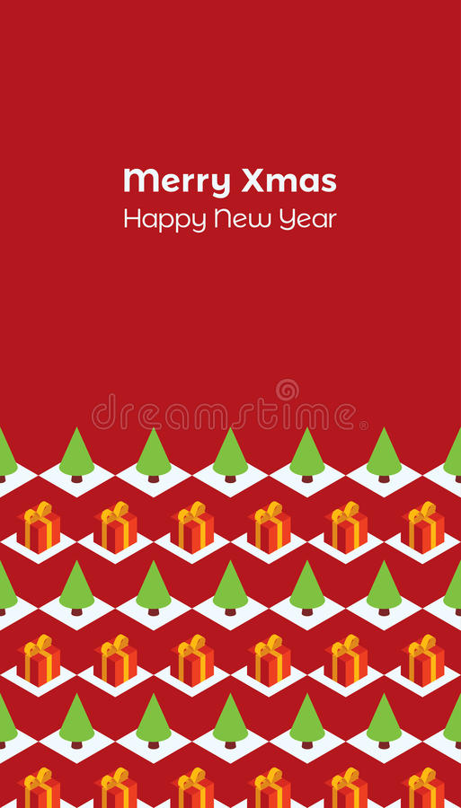 Christmas card isometric gifts trees maroon. Holiday greeting card. Text `Merry Xmas and Happy New Year` on a dark red background. Pattern with isometric red royalty free illustration
