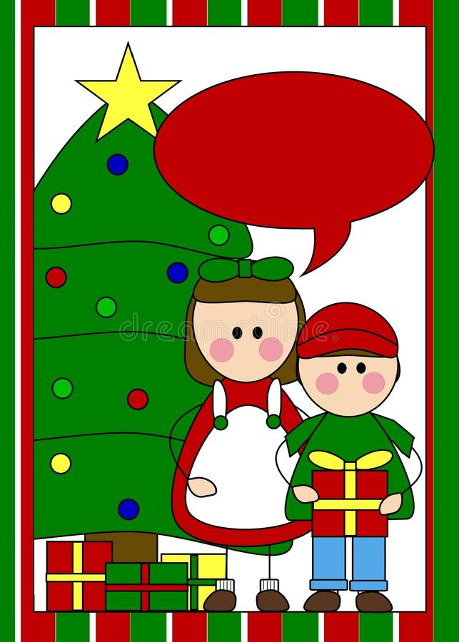 Christmas Card With Kids Royalty Free Stock Image