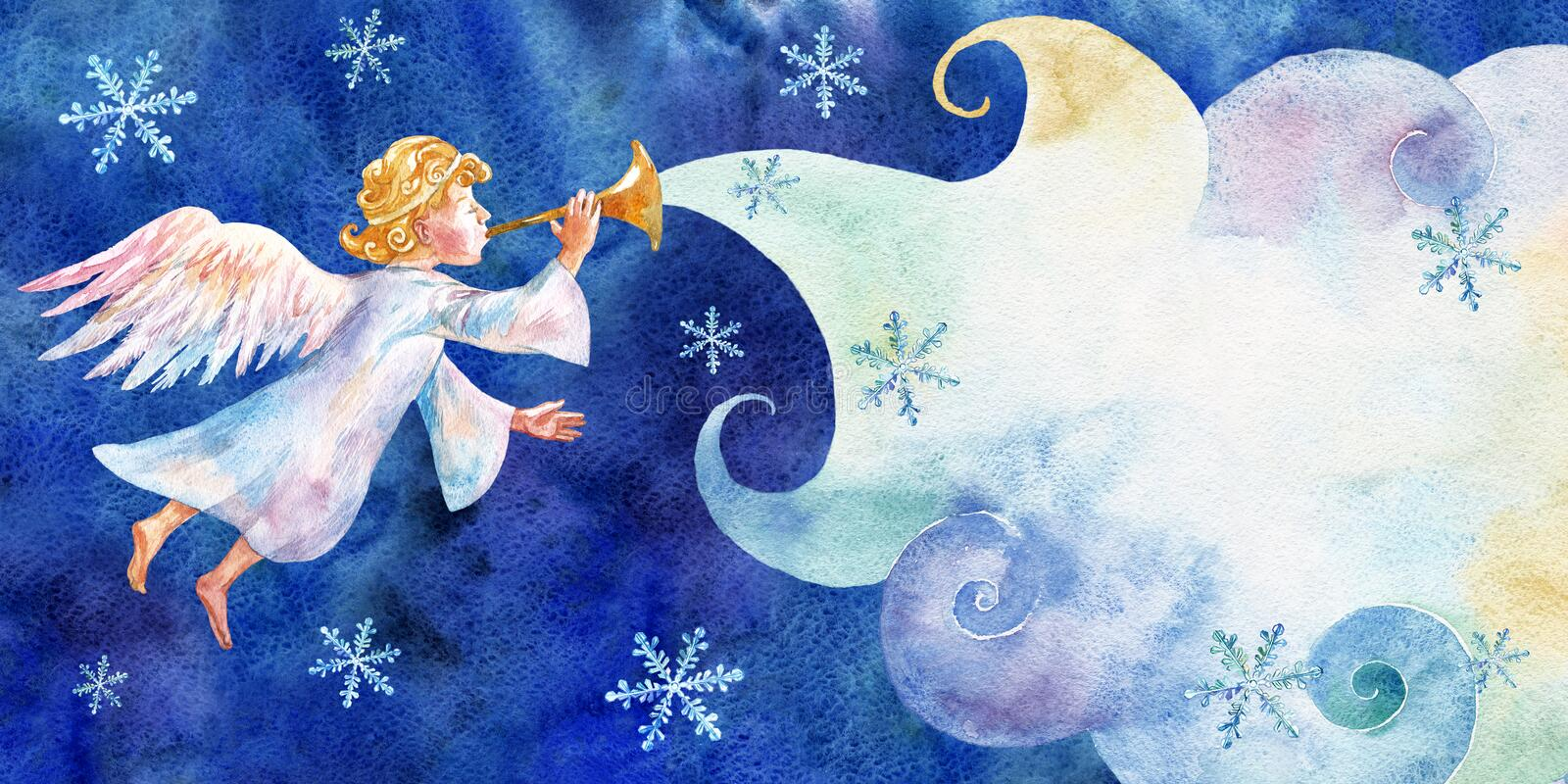 Christmas card with little angel. Watercolor on blue background. stock illustration