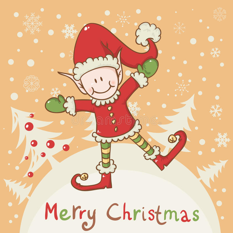 Christmas card with little elf Santa helper royalty free illustration