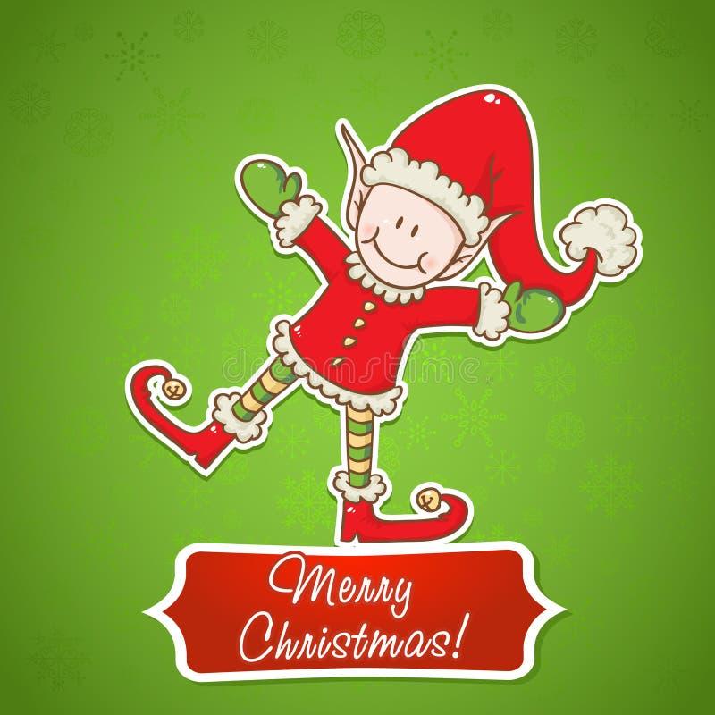 Christmas Card With Little Elf Santa Helper Stock Photos