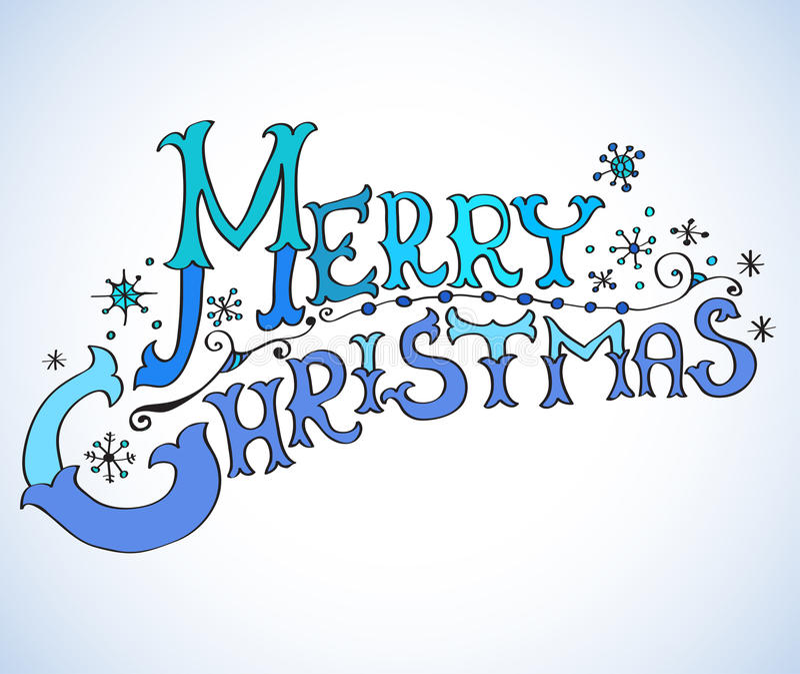 Christmas Card, Merry Christmas lettering vector illustration