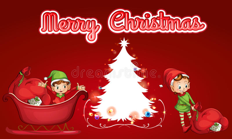 Christmas card. Merry Christmas theme with helping elves royalty free illustration
