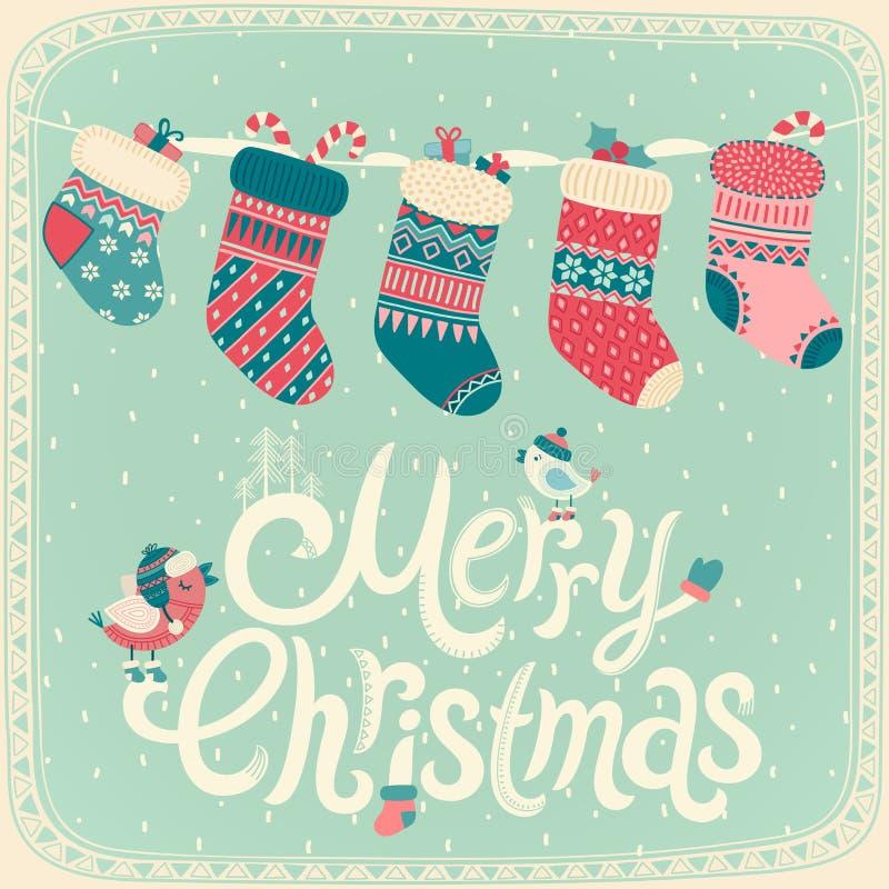 Christmas card. Merry Christmas card. Vector illustration