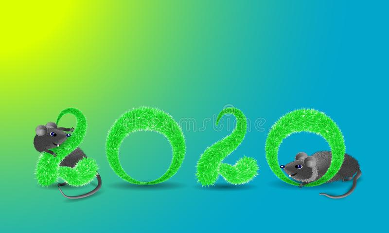 Christmas card with mice playing in green fluffy numbers 2020 stock image