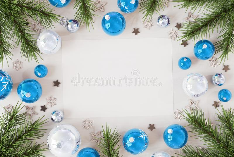 Christmas card mockup with blue baubles 3D rendering royalty free illustration