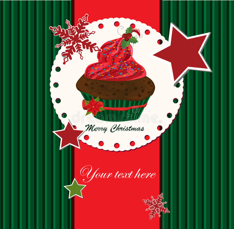 Christmas Card With Muffin Stock Image