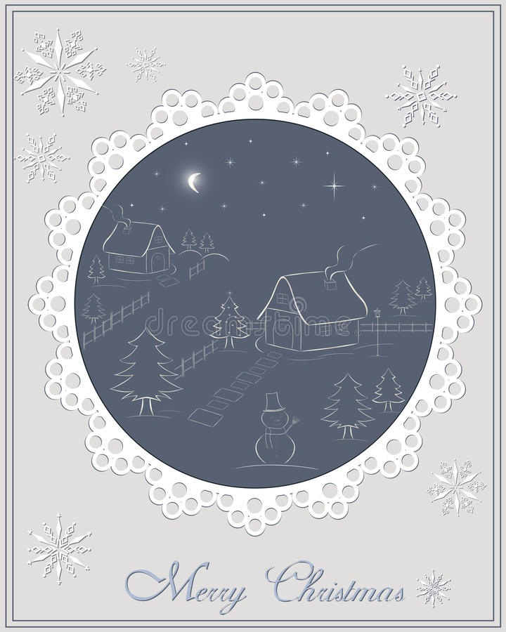 Christmas card - night winter scene in the village royalty free illustration