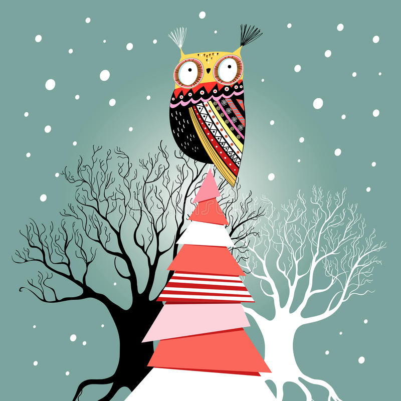 Christmas card with an owl on the tree stock illustration