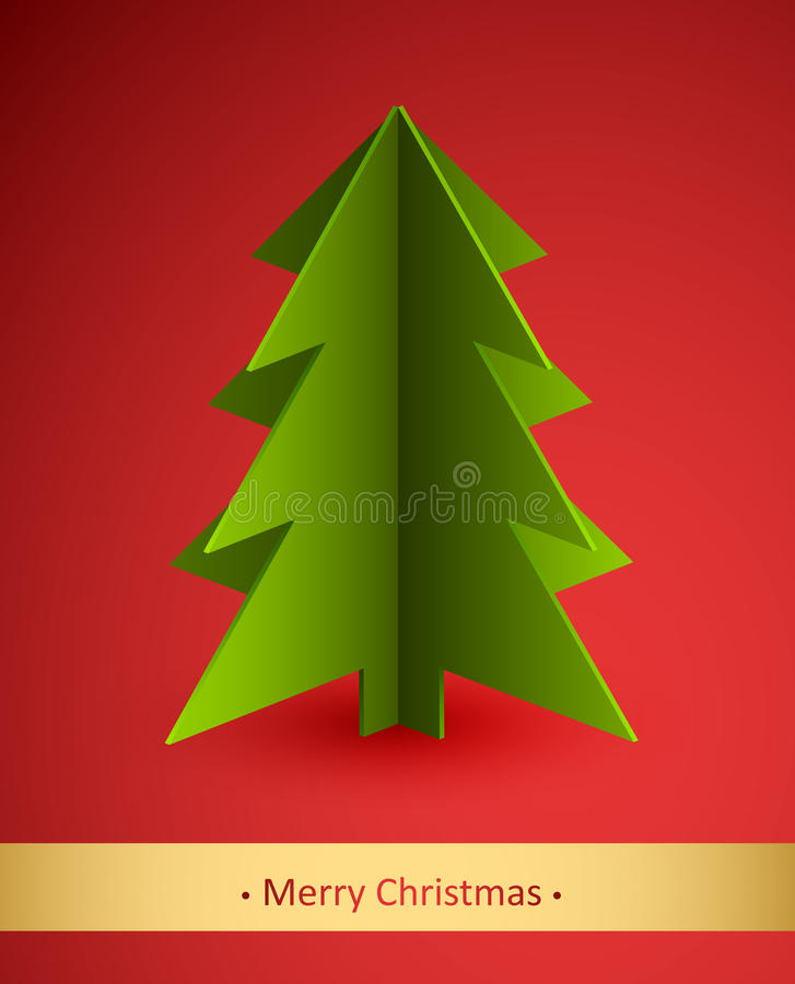 Download Christmas Card With Paper Fir Tree Stock Vector - Image: 22434380