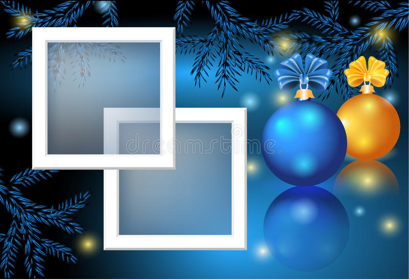 Christmas card with photo frame vector illustration