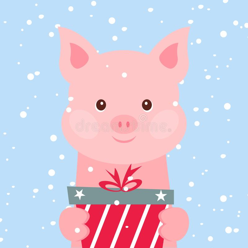 Christmas card. Portrait of pink pig with gift box, snowflake. Funny cartoon face of a pig. Vector illustration, Happy stock illustration