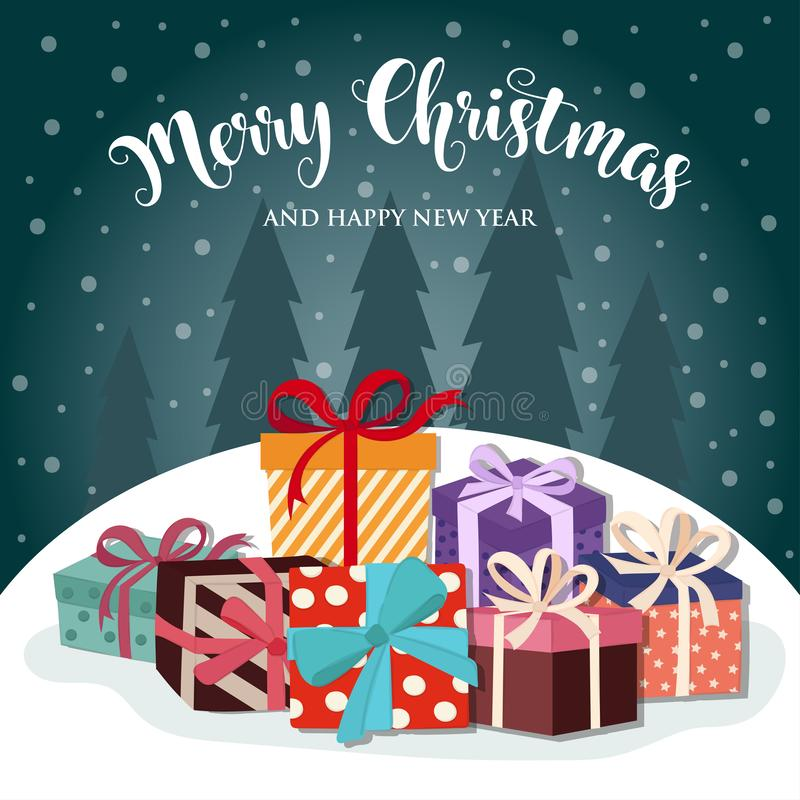 Christmas card with presents royalty free illustration