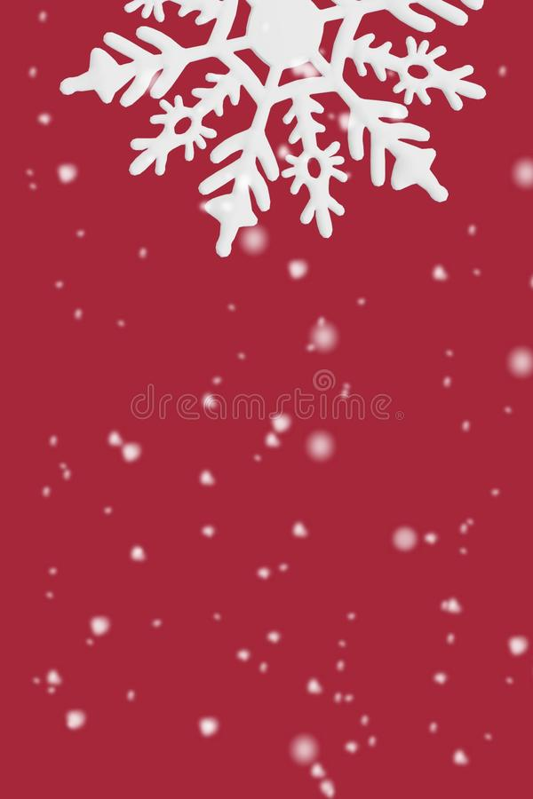 Christmas card red background snowflakes snow white winter holidays New year stock photos