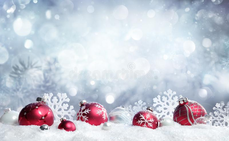 Christmas Card - Red Baubles And Snowflakes royalty free stock image