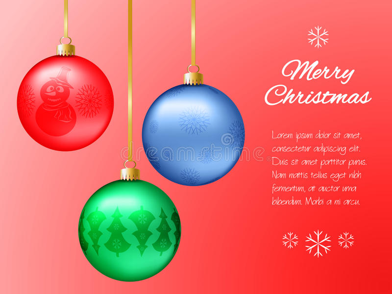 Christmas card with red, blue and green pendants in the shape of a ball. Decorated fir-tree, snowflakes, snowman. Classic red back stock illustration