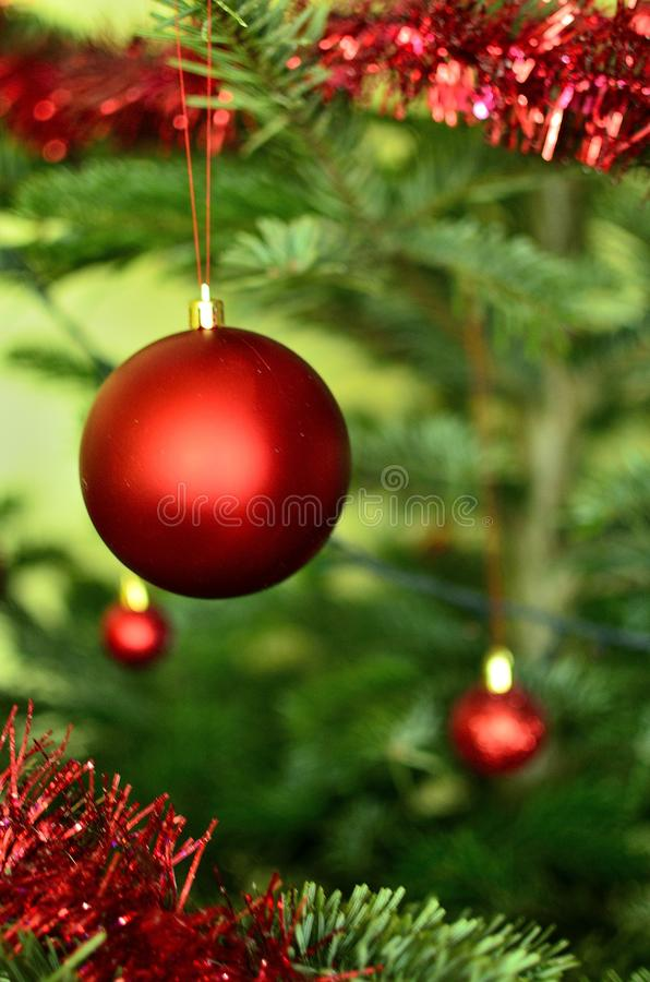 Red Christmas Globe with a part of decorated Christmas Tree on Background royalty free stock photography