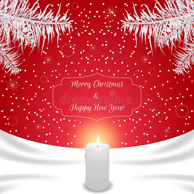Christmas card of red color with white silk and white burning candle. Suitable for invitations. Vector royalty free illustration