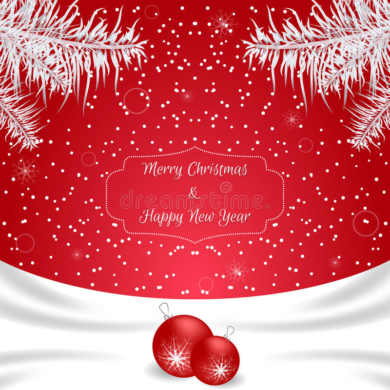 Christmas card of red color with white silk and white fir branches and red balls. Suitable for invitations. Vector stock illustration