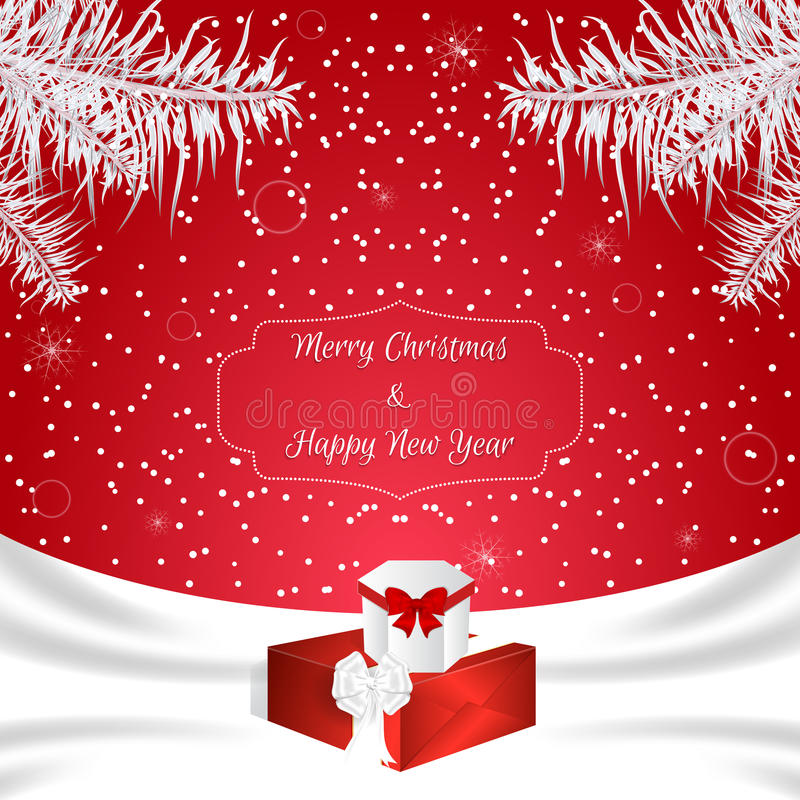Christmas card of red color with white silk and white fir branches and two gift boxes. Suitable for invitations. Vector stock illustration