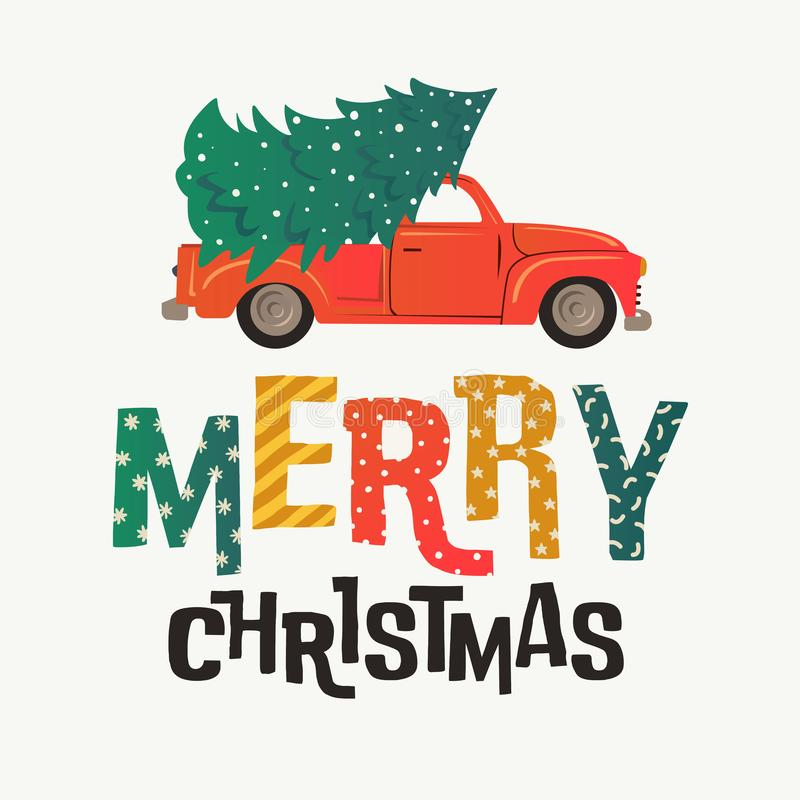 Christmas card. Red retro truck with fir tree and gifts. Vector illustration. stock illustration