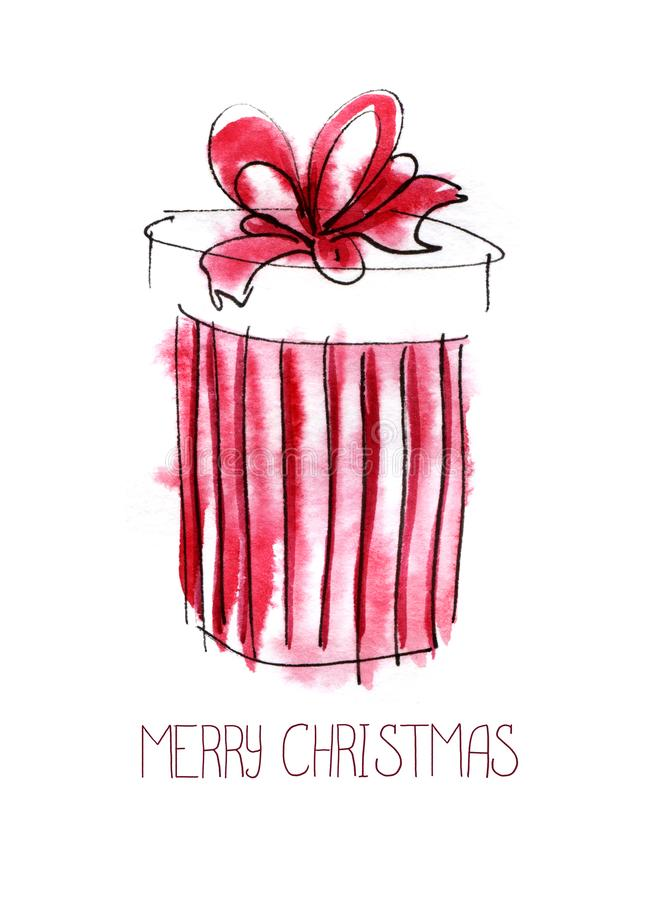 Christmas card. Red striped round gift box with a magnificent bow. Merry Christmas lettering. Hand drawn color sketch watercolor vector illustration