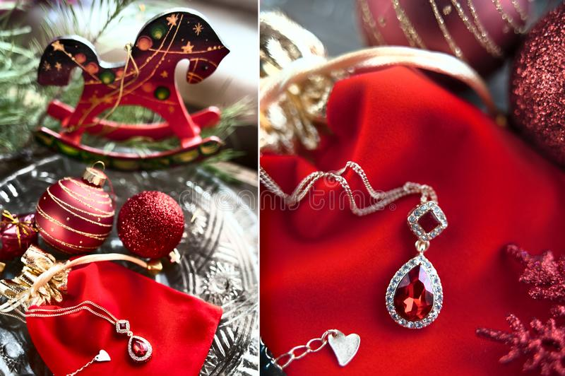 Christmas card in red tones. Theme of gifts for the new year. royalty free stock images