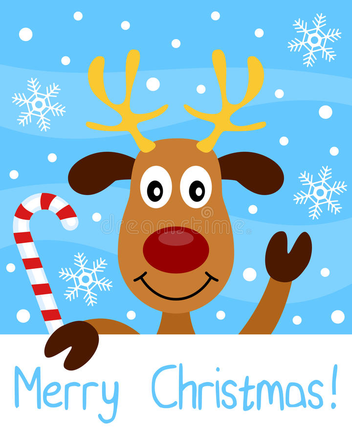 Christmas Card with Reindeer vector illustration