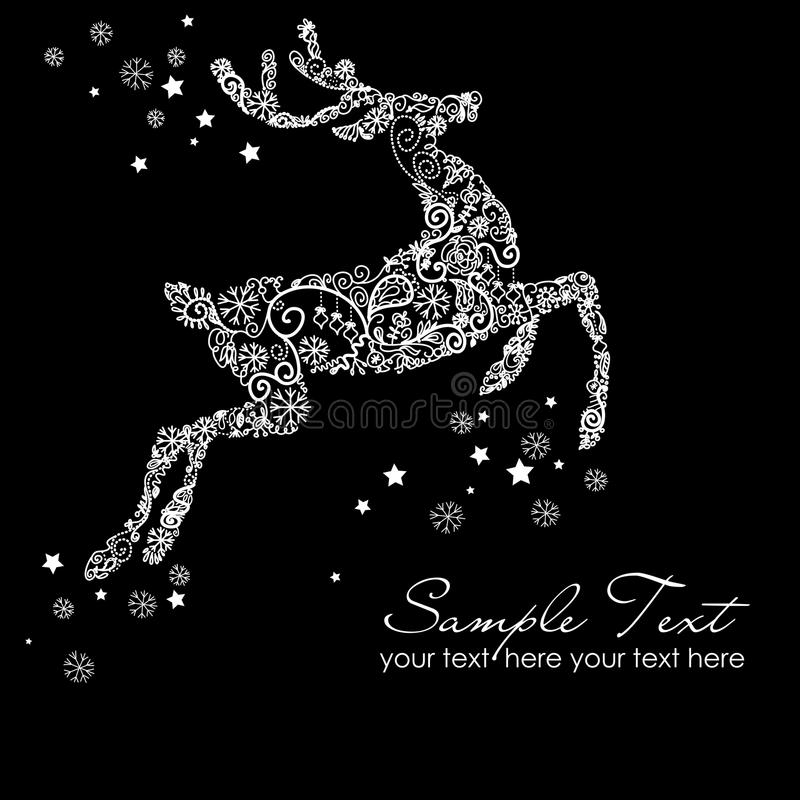 Christmas card reindeer on black vector illustration