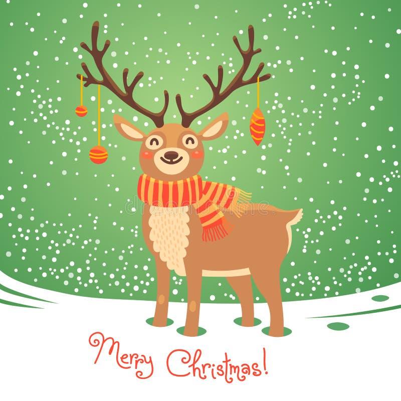 Christmas card with reindeer. Cute cartoon deer royalty free illustration