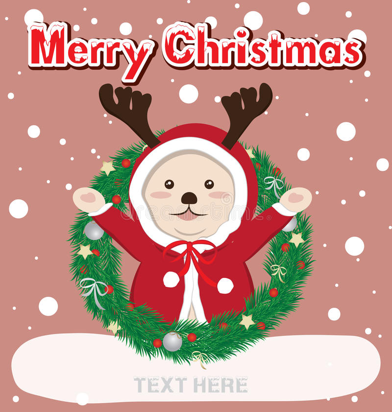 Christmas card and reindeer. Christmas card and merry christmas text vector illustration