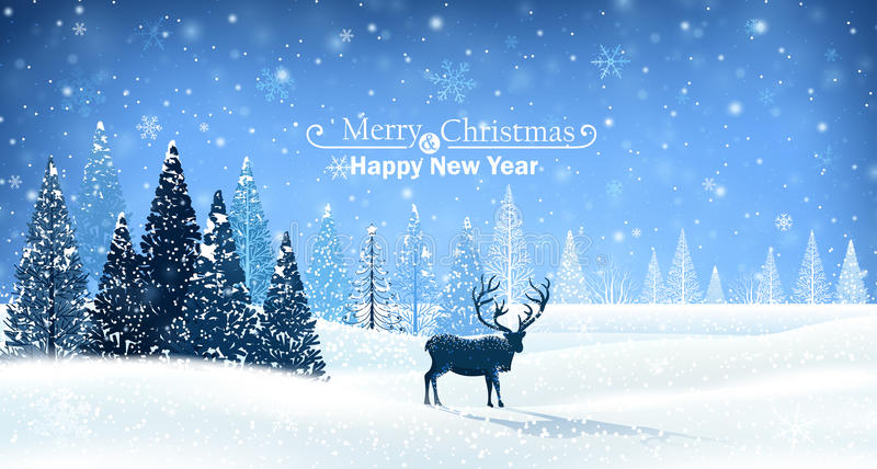 Christmas card with reindeer royalty free illustration