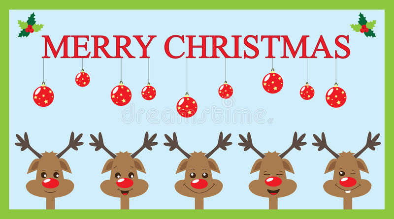 Christmas card with reindeers royalty free illustration
