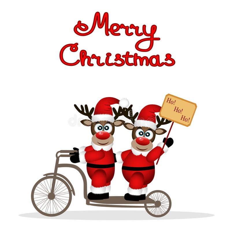 Christmas card. Christmas reindeers on a bicycle. royalty free stock images