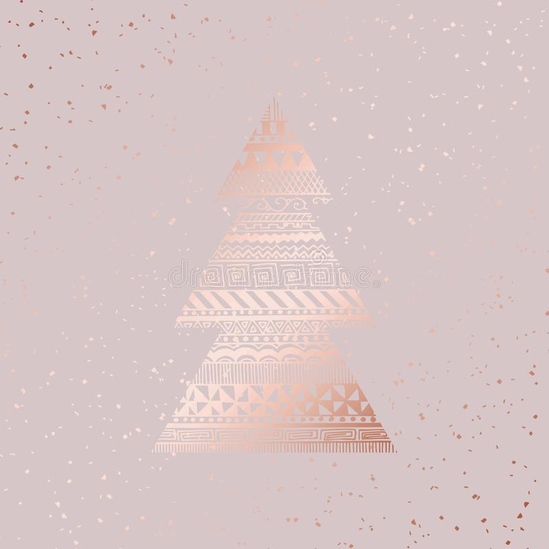 Christmas card. Rose gold. Vector illustration stock illustration