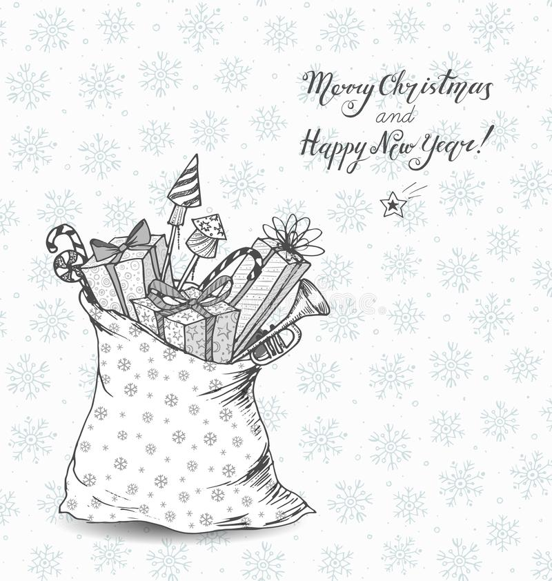 Christmas card with sack full of gifts. Gift boxes. christmas candies, firework rockets. Doodle sketch illustration. vector illustration